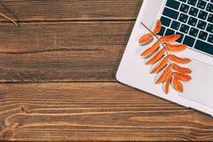 与膝上型计算机和秋季叶子的背景 免版税库存照片