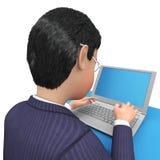 与膝上型计算机手段商业键盘和常见问题解答的商人 免版税库存照片