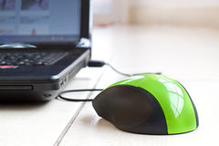 与膝上型计算机的一只绿色老鼠 图库摄影