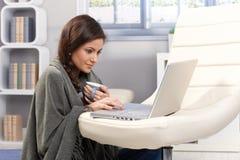 与膝上型计算机的冷冬日在家 库存照片