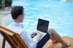与膝上型计算机的商人在豪华旅馆里 库存照片