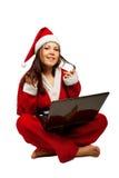 与膝上型计算机的圣诞老人辅助工 免版税图库摄影