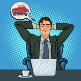 与膝上型计算机的愉快的生意人 作梦关于新的汽车的办公室工作者 皇族释放例证