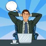与膝上型计算机的愉快的生意人 作梦关于某事的办公室工作者 向量例证