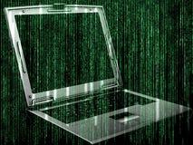 与膝上型计算机的未来派代码背景 免版税库存照片