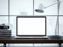 与膝上型计算机的现代工作区 3d翻译 库存照片