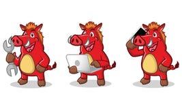 与膝上型计算机的红色野生猪 免版税库存照片
