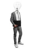 与膝上型计算机的闪亮指示顶头生意人 库存图片