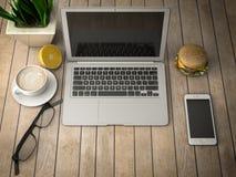 与膝上型计算机3d例证的早餐 库存照片