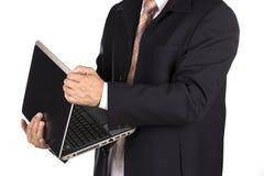 与膝部顶层的生意人 库存图片