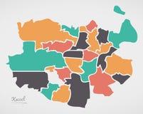 与自治市镇和现代圆形的卡塞尔地图 免版税库存图片