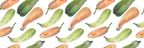与自然例证的无缝的南瓜水彩南瓜样式在本文 免版税库存照片
