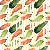与自然例证的无缝的南瓜水彩南瓜样式在本文 库存照片