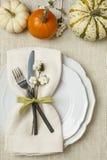 与自然植物的装饰和白色织品桌布背景的欢乐秋天秋天感恩桌设置 库存照片