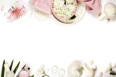 与自然温泉产品的健康和秀丽模板 库存图片