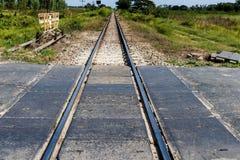 与自然的农村铁路轨道在风景 库存图片
