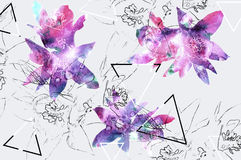 与自然花和铅笔等高和几何的花卉背景 免版税图库摄影