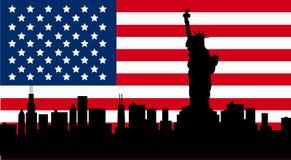 与自由女神像旗子的美国设计 免版税库存照片