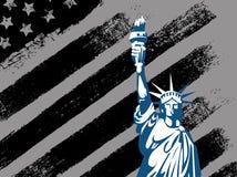 与自由女神像旗子的黑美国设计 免版税图库摄影
