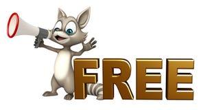 与自由标志的逗人喜爱的浣熊漫画人物和扩音机 免版税库存照片