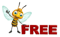 与自由标志的逗人喜爱的蜂漫画人物 库存照片