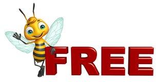 与自由标志的逗人喜爱的蜂漫画人物 免版税库存图片