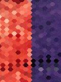 与自由格式线艺术textur的红色和紫色六角形背景 库存照片