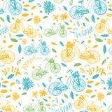 与自行车的传染媒介五颜六色的样式 免版税库存图片