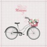 与自行车的卡片 免版税库存图片