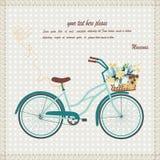 与自行车的卡片 免版税库存照片