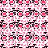 与自行车的无缝的浪漫样式 免版税库存图片