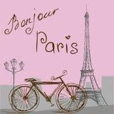 与自行车的海报在葡萄酒样式 剪影e-i 皇族释放例证