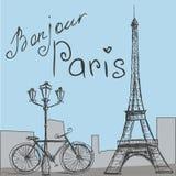 与自行车的海报在葡萄酒样式 剪影e-i 向量例证