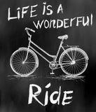 与自行车的老葡萄酒海报减速火箭的设计的 免版税库存图片
