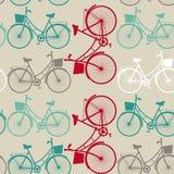与自行车的葡萄酒无缝的背景 免版税库存图片