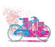 与自行车的逗人喜爱的卡片 库存图片