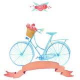 与自行车的水彩浪漫例证在葡萄酒样式 免版税库存图片