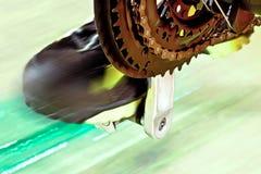 与自行车赛车道的前面Derailleur 免版税库存图片