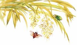 与臭虫和飞行例证传染媒介的水彩竹子 向量例证