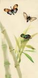 与臭虫和飞行例证传染媒介的水彩竹子 皇族释放例证