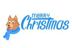 与舌头的愉快的小狗在围巾 与圣诞快乐文本的平的小狗 库存例证
