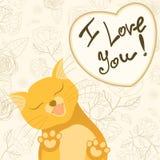 与舔的嫩猫的逗人喜爱的浪漫卡片 免版税库存图片