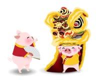 与舞狮的猪动画片春节 皇族释放例证
