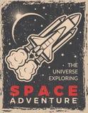 与航天飞机的减速火箭的海报 与地方的设计模板您的文本的 皇族释放例证