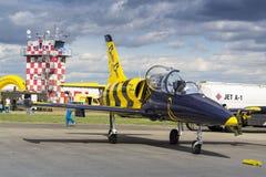 与航空L-39 Albatros的波儿地克的蜂喷气机队飞行在跑道的身分 免版税库存图片