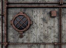 与舷窗的金属隔框 免版税库存图片