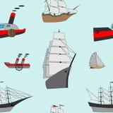 与船的抽象无缝的样式 免版税库存图片
