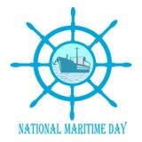 与船舵的航海日和船锚和船 免版税图库摄影