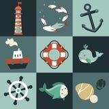 与船舶设计要素的向量集 库存例证