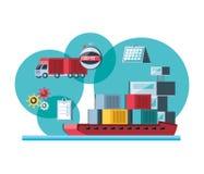 与船货物的送货业务 库存例证